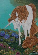 ACEO original/fantasy unicorn/horse/acrylic/miniature/OOAK/painting/art