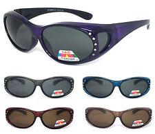 Womens Rhinestones Oval Anti Glare Polarized Lens Cover Fit Over Sunglasses