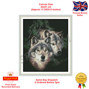 Two Wolves Counted Cross Stitch Kit , 44x51cm. (Same Day Dispatch)