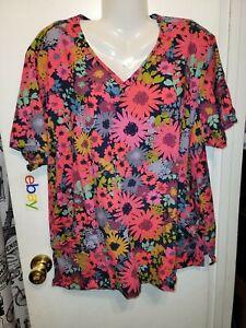 Dickies Women's Scrub Top xxl cotton colorful happy pockets b24