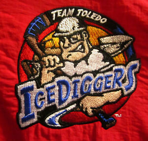 TOLEDO ICE DIGGERS hockey XL windbreaker CEHL jacket 2001 embroidery OHIO