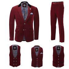 Mens Maroon Velvet Vintage 3 Piece Suit Blazer Waistcoat Trouser Sold Separately