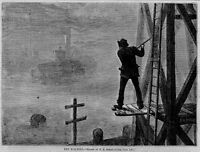 MARITIME RINGING THE FOG BELL ALERTING  SHIP NAUTICAL HISTORY FOGGY WEATHER