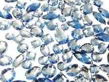 CraftbuddyUS 80 Light Blue Faceted Acrylic Sew On  Crystal Rhinestone Gems