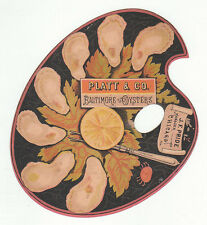Die cut artist easel trade card for Platt & Co., Baltimore Oysters and J.F [5041