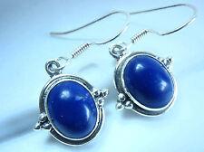 Lapis Lazuli Oval 925 Sterling Silver Dangle Earrings