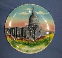 """Vintage Washington DC Souvenir Mini Plate 5"""" Raised Image Capitol Building Japan"""