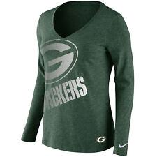 Women Green Bay Packers Logo Wrap Tri-Blend V-Neck Long Sleeve T-Shirt Medium
