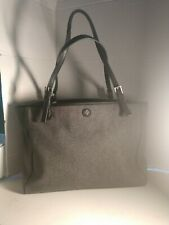TORY BURCH extra Large Tote Bag Purse Double Hand Straps Black Wool