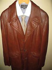 Reed Men Brown Leather 70's Fight Club Car Coat Blazer Spy Jacket 42 Reg Large