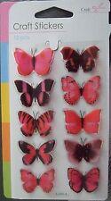 3d Cerise Mariposa Stickers-embellishments-lots de usos 10 En Pack