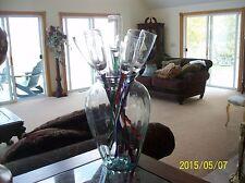"Artland Handblown Glass Long Stemmed 17"" Tall Beach Party Wine Glasses 12 W/vase"