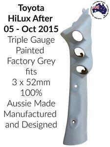 3 Gauge Pillar pod suits AFT05 Toyota HiLux Painted Factory Grey3 x 52mm Aussie