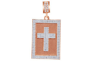 Cubic Zirconia Cross Tag Pendant 14K Rose Gold Over Sterling Silver