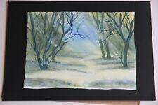 New Watercolour Woodland Twilight with sunbeams 30cm x 22cm unmounted unframed