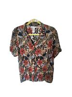 Vintage M S Soft Rayon Crazy Floral Flower Pattern Hawaiian Shirt Blouse Red