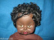 Vintage 70's Marcellino Italy Native American Black Girl Move Eyes Talk Doll