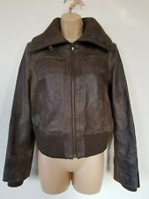 BAY TRADING Leather JACKET COAT 14 Zip POCKETS Aviation Vintage WORN Distressed