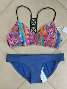 Seafolly Bikini AU 14 Mexican Summer Hybrid Bralette & Blue Quilted Hipster