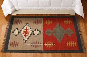 Indien Large Area Kilim Rug Hand Knotted Harlequin 3x5ft Jute Wool Carpet Runner