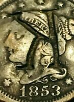 1853 US Large Cent Matron Braided Hair Counterstamped K US Historic Coin CS1132