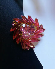 Vintage Bright Pink Round Marquis Stones Rhinestones Brooch Domed Tiered Juliana