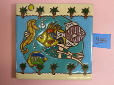 "Ceramic Art Tile 6""x6"" OCEAN saltwater fish sea horse palm trees trivet wall B85"