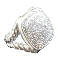 Designer Inspired 17x17mm Albion Ring with 1.19Ct Pave Diamonds Ring Size 7