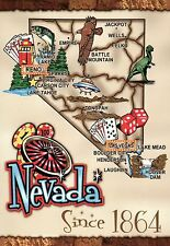 Nevada, Las Vegas Lake Tahoe Carson City Hoover Dam Elko etc.,State Map Postcard