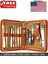 Kit Nail Travel Manicure Set Pedicure Grooming Case Clipper Care Men Personal