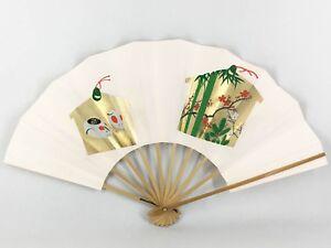 Vintage Kyoto 'Maiogi' Folding Dance Fan Cream with Gold Ema Design: Feb18G