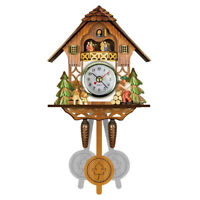 Funny Wooden Cuckoo Wall Clock Bird Time Bell Swing Alarm Watch Home Art Decor