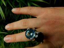 PIANEGONDA RING SMOKEY QUARTZ AND BLUE TOPAZ WITH DIAMONDS BYPASS RING NEW WITH