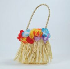 Ladies Hawaiian Hula Girl Lei Mini Straw Bag Fancy Dress Costume Accessory