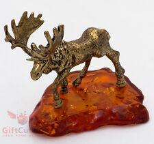 Solid Brass Amber Figurine of Moose Elk IronWork