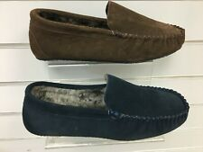 men leather slippers warm lined moccasin outdoor hard wearing soles sizes 7-12