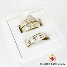 Round Cut Diamond Yellow Gold Over His Her Trio Engagement Wedding Ring Set