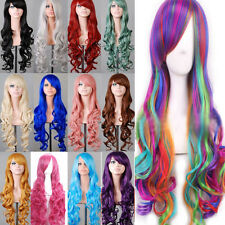 Lady 80cm Long Curly Wig Fashion Cosplay Costume Hair Anime Full Wavy Party Wig#