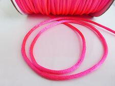 10m Bright Fuschia Pink 2mm Rattail Rat Tail Nylon Satin Threading Beading Cord