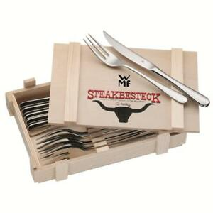 WMF Steakbesteck 12 tlg.Grillbesteck f.6 Personen poliert Holzkassette