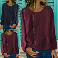 UK 8-24 Women Plus Size Long Sleeve Casual Vintage Blouse Pullover Top Shirt