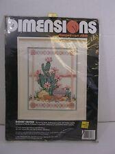 "Dimensions 1992 stamped cross stitch ""Desert Cactus"" Southwestern NIP 11x14"""