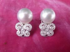 STUNNING 18K WHITE GOLD ,DIAMOND AND SOUTH SEA PEARL EARRINGS