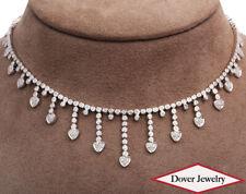 Estate 3.38ct Diamond 18K White Gold Link Heart Pendant Necklace 30.9 Grams NR
