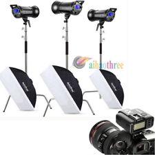 3Pcs Godox QT400IIM 400W HSS 1/8000s Studio Flash Light +Softbox +Stand +Trigger