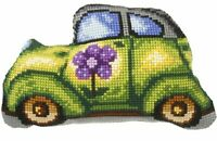 """Green Car"" Latch-Hook Front Cushion Pillow Kit Orchidea 9328"