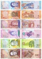 Venezuela  2 + 5 + 10 + 20 + 50 + 100 Bolivares Set of 6 Banknotes 6 PCS UNC