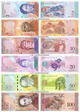 VENEZUELA 2 + 5 + 10 + 20 + 50 + 100 BOLIVARES Set di 6 BANCONOTE 6 PZ UNC