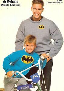 257  Vintage Knitting Pattern Patons DK Batman Sweater  22/44 In