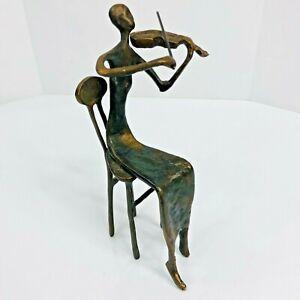 Modernist Musician Bronze Sculpture Woman Violin Instrument Signed Burn